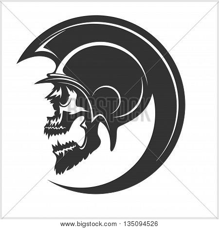 Spartan Skull and Helmet silhouette, Greek warrior - Gladiator, legionnaire heroic soldier. vector