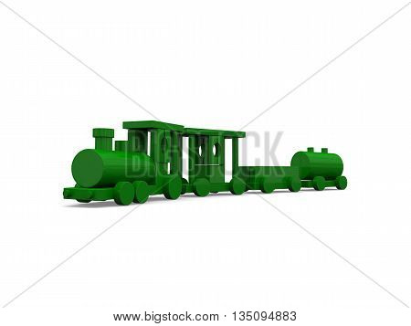 Green Wooden Toy Train
