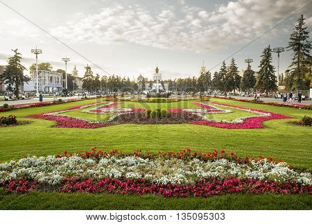 Flower bed in VDNH park Moscow Russia