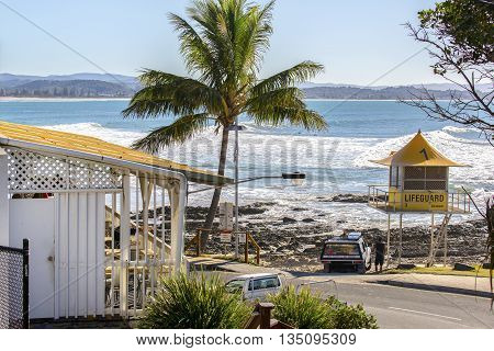 GOLD COAST, AUSTRALIA - JUNE 8 2016: Gold Coast Snapper rock and lifeguard hut number 1, located on Rainbow Bay Beach.