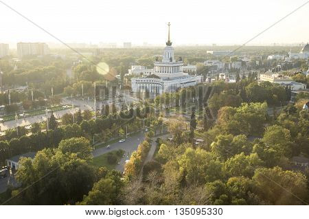 Aerial view on Park VDNH in Moscow Russia