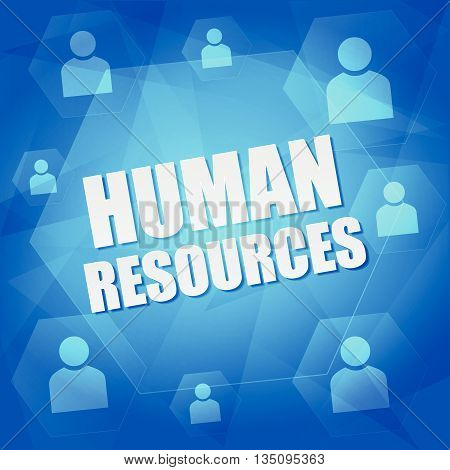 human resource and person signs - business concept words and symbols in hexagons over blue background, flat design, vector