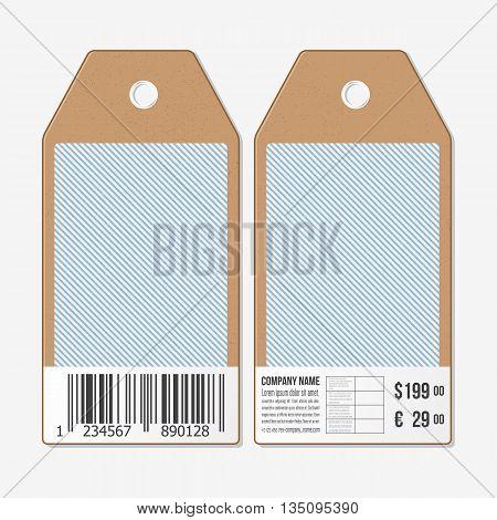 Tags on both sides, cardboard sale labels with barcode. Vintage design, lines vector background.