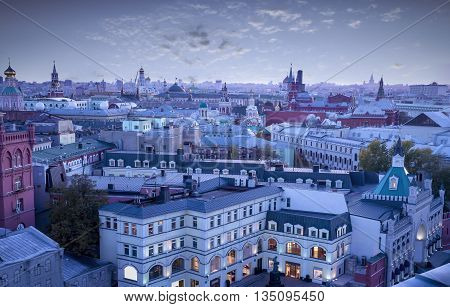 Panoramic aerial view on Moscow downtown Russia