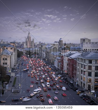 Heavy traffic jam in Moscow city, Russia