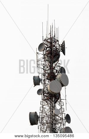 Telecommunication, antenna tower white sky microwave wireless cellular technology