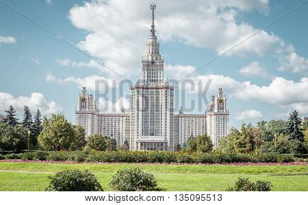 Lomonosov Moscow State University building in Russia