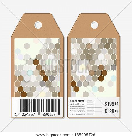 Tags on both sides, cardboard sale labels with barcode. Polygonal design vector, geometric hexagonal backgrounds.