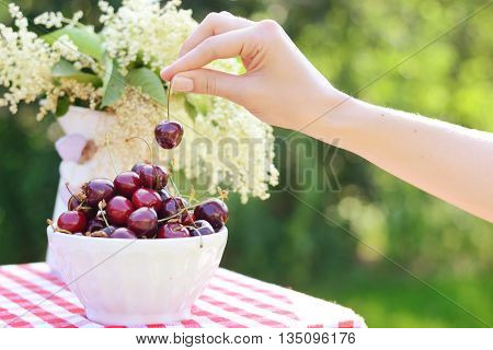 Sweet cherries on a table