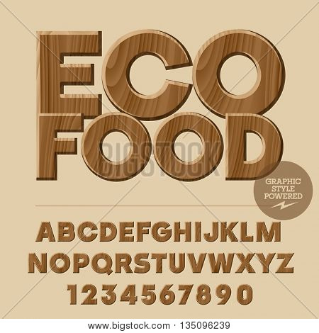 Vector set of alphabet letters, numbers and punctuation symbols. Wooden logo with text Eco food