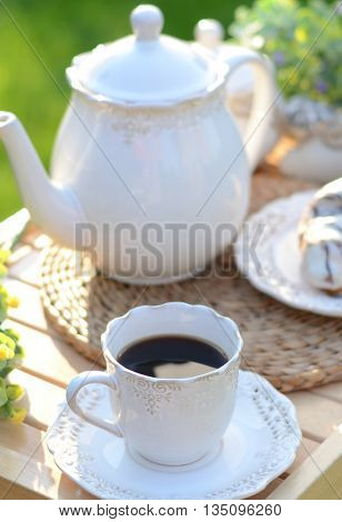 French breakfast or dessert with croissants,coffee