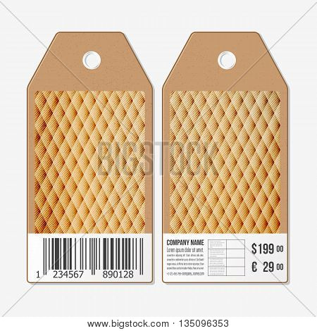 Vector tags design on both sides, cardboard sale labels with barcode. Wooden design, polygonal background, abstract vector illustration.