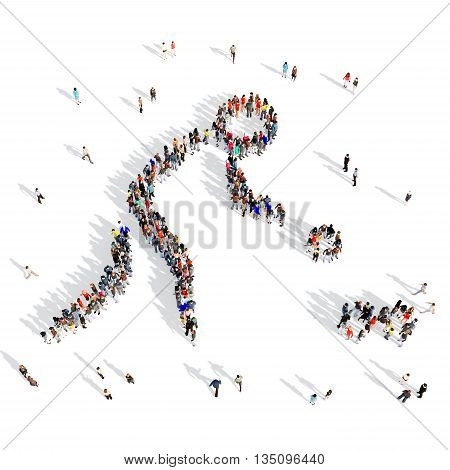 Large and creative group of people gathered together in the shape of man, a sport. 3D illustration, isolated, white background.