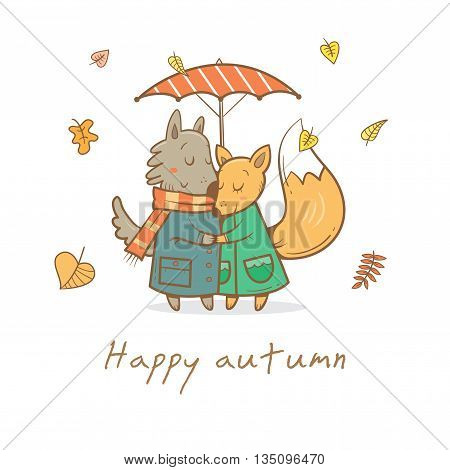 Card with cute cartoon wolf and fox in love. Funny animals under  umbrella. Autumn time. Falling leaves. Rainy weather. Children's illustration. Vector image.