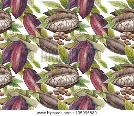 Watercolor cocoa fruit seamless pattern. Hand drawn exotic cacao  plants