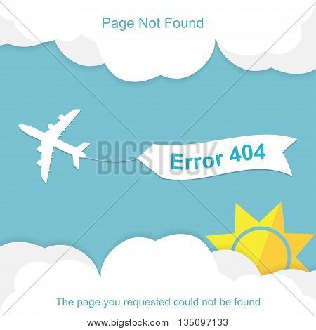 Airplane with 404 error notification on white banner. Vector illustration