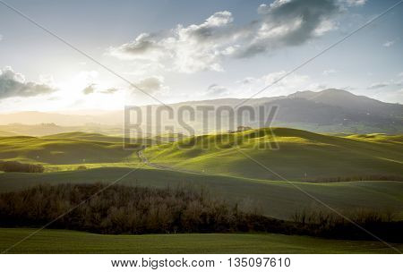 Tuscany - Landscape panorama hills and meadow Toscana - Italy