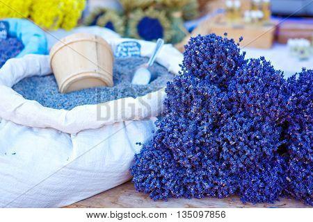 Lavender, herbals for selling on farmer market in Gordes, Provence, France