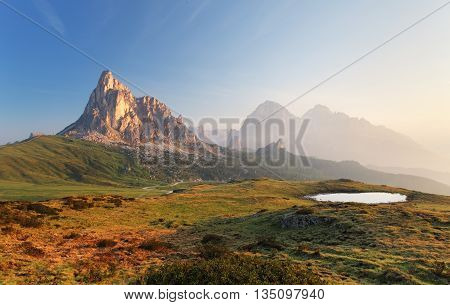 Mountain nature landscape in Dolomites Alps Italy.