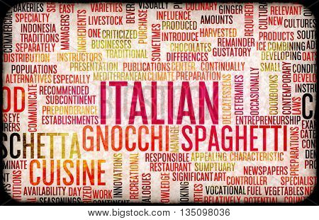 Italian Food and Cuisine Menu Background with Local Dishes