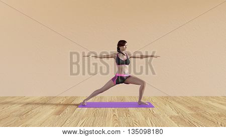 Yoga Class Warrior Pose Illustration with Female Instructor  3d Illustration Render