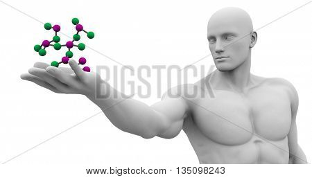 Science Technology and 3d Genetic Atomic Concept 3d Illustration Render