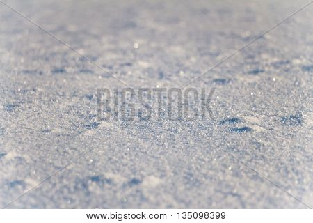 Snow grains close up. Blurred in the distance. Snow cover is not smooth.