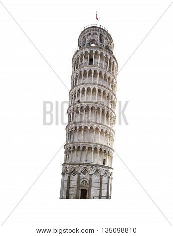 Leaning tower of Pisa Italy isolated on white background