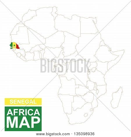 Africa Contoured Map With Highlighted Senegal.