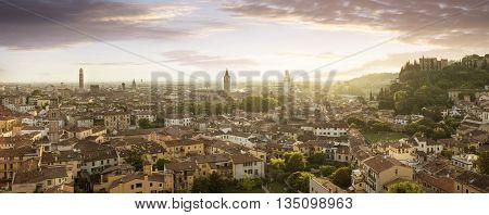 Panoramic view of Verona city at dusk Italy