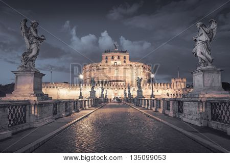 Castel Santangelo in Rome at night, Italy