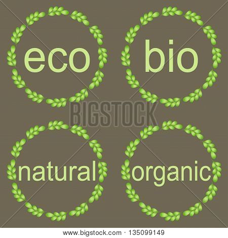 Leaf frames labels and stickers. Round frames with green leaves