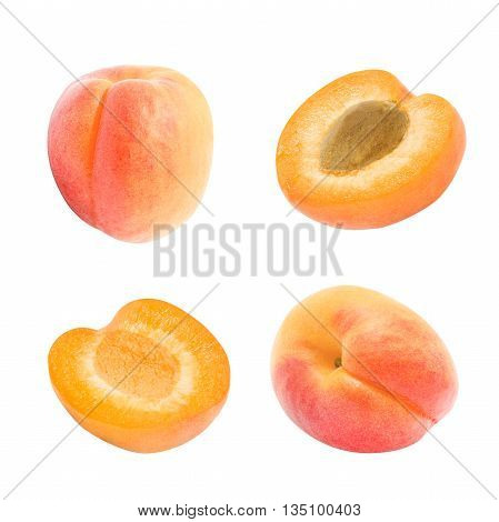 Set of juicy orange whole apricot, slices of apricot with and without stone isolated on a white background. Design element for product label, catalog print, web use.