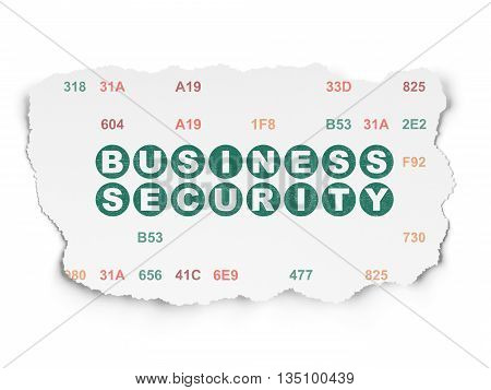 Protection concept: Painted green text Business Security on Torn Paper background with  Hexadecimal Code