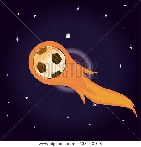 flying soccer ball on fire vector illustration for sticker