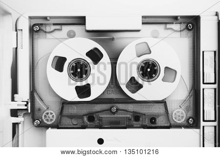 vintage audio tape compact cassette, black and white