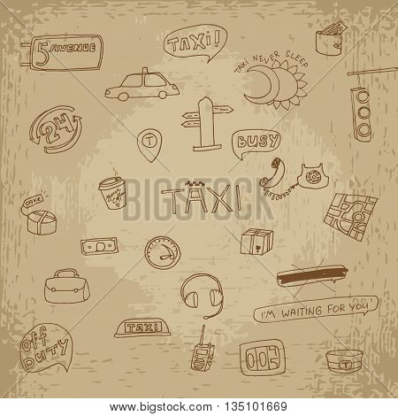 Taxi transportation set. Hand drawn vector stock illustration. Vintage grunge drawing