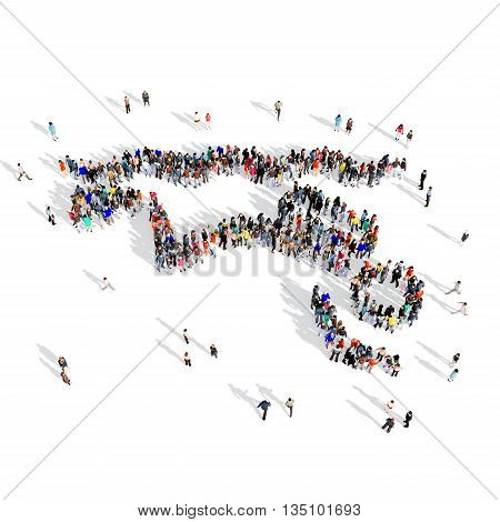 Large and creative group of people gathered together in the shape of man, diving, sport. 3D illustration, isolated, white background.
