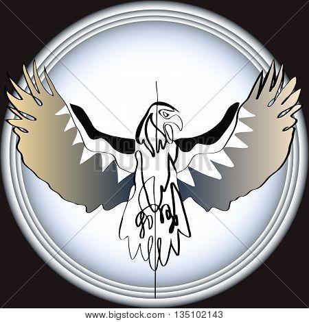 vector illustration sketch of a flying eagle on a background of textured vignette