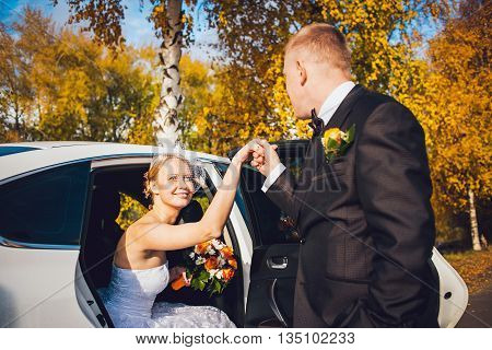 Groom open door of limousine and take hand to brideGroom open door of wedding car and take hand to smiling bride. Autumn wedding concept