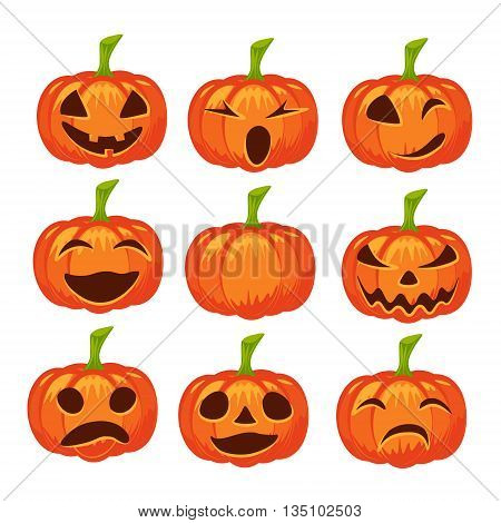 Vector set of isolated pumpkin icons. Halloween design emotion laughing angry smiling sad scary evil winking smile. Jack lantern for website flier invitation card