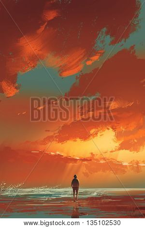 lonely man standing on the sea under sunset sky, illustration painting