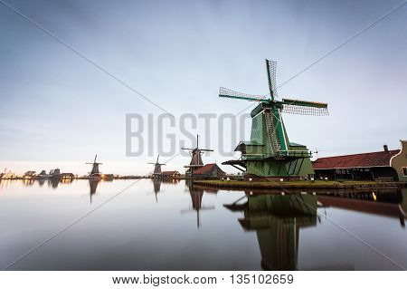 Windmills in open air museum in Zaanse Schans, The Netherlands