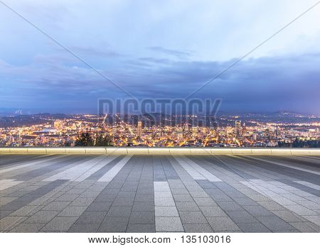 cityscape and skyline of seattle on view from empty street