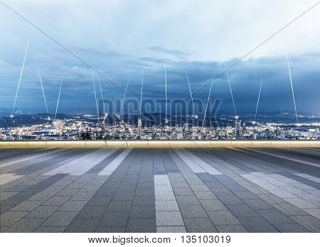 cityscape and skyline of seattle on view from empty floor.wireless signals over whole city
