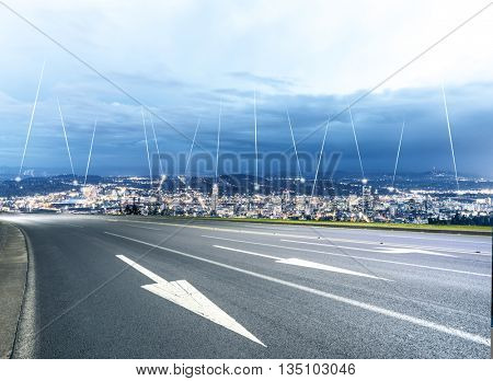 cityscape and skyline of seattle on view from empty street,wireless signal over whole of city