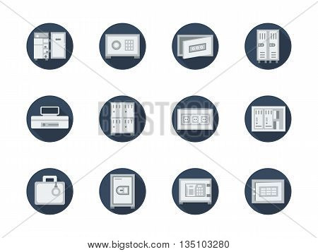Storage lockers and safe boxes with simple or combination lock. Protection for securities and money, personal things. Equipment for office, bank, public wardrobe. Set of blue round flat vector icons.