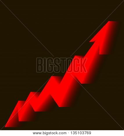 red arrow graph goes up on a black background