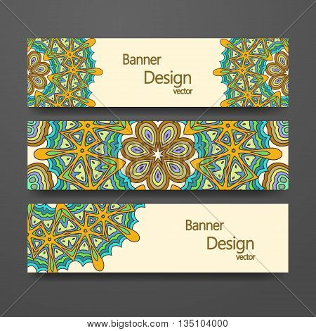 Colorful ornamental ethnic banner set. Mandala vector template tribal vintage theme collection. Islam Arabic Indian turkish pakistan chinese ottoman motifs
