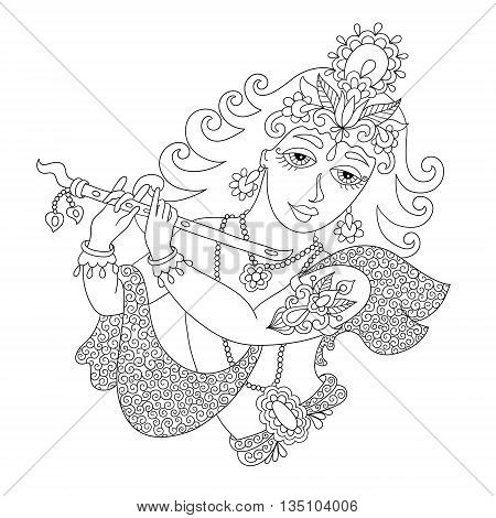 black and white god lord Krishna for Janmashtami festival, line art vector illustration
